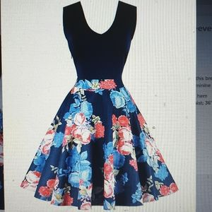 Dresses & Skirts - Pinup style Blue floral contrast dress